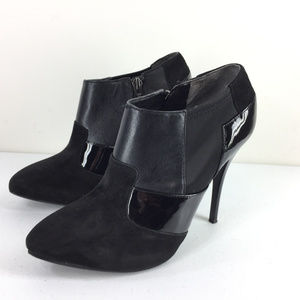 Guess 6.5 Black Leather Stiletto Booties Excellent